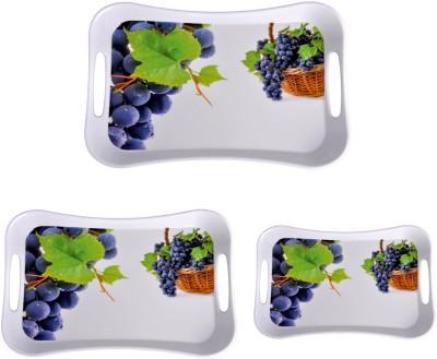 MEHUL Sharewell Glazed Melamine T_9005 Black Grapes 3 Pcs Cup Tray Serving Set