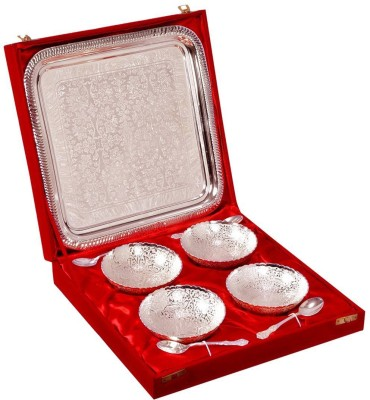 Indian Craft Villa Silver Plated 4 Bowl Deep Dish 4 Spoons 1 Serving Tray with Gift Packing Box for use Desert ice cream Serving Restaurant Hotel Home Ware Gift Item Pack of 9 Dinner Set(Silver Plated at flipkart