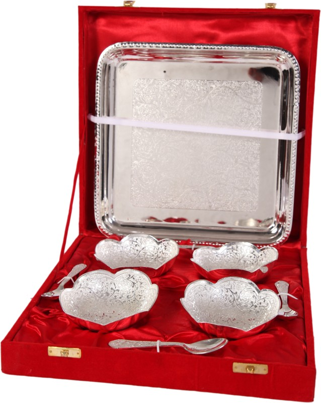 JTInternational German Silver Bowl Tray Serving Set(Pack of 9)