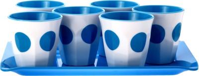 Superware Drink Serving Set-Dot Blue Glass Tray Serving Set