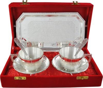RajLaxmi RajLaxmi Silver Plated Tea Cup Set Bowl Spoon Tray Serving Set