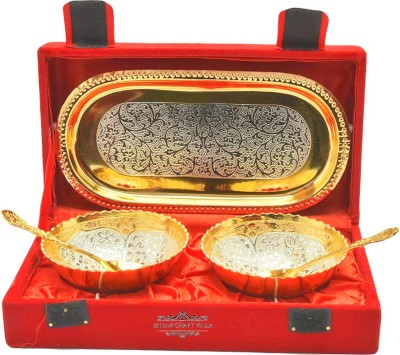 Nirvana Craft Villa Occasion gifts silver gold plated unique bowl set Bowl Spoon Tray Serving Set(Pack of 5) at flipkart