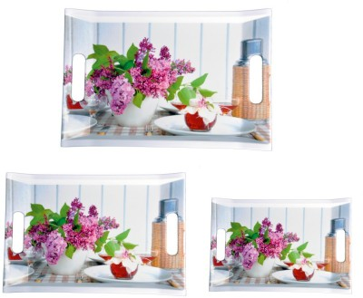 Mehul Sharewell Glazed Melamine T_9002 Pink Flower Square 3 Pcs Cup Tray Serving Set