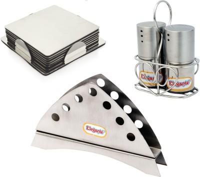 Elegante Combo Set(napkin Holder,Salt n Pepper,Coaster Square) Bowl Spoon Plate Ladle Serving Set(Pack of 3)