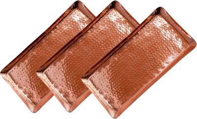 Dungri India Craft Set of 3, Rectangular Hammered Copper Serving BAR TRAY, (L -17