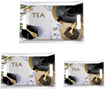 Mehul Sharewell Glazed Melamine T_9000 Black Tea 3 Pcs Cup Tray Serving Set