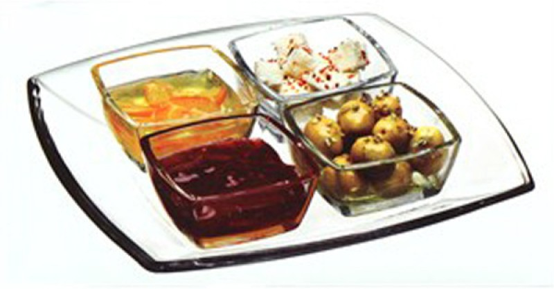 Pasabahce Bowl Tray Serving Set(Pack of 1)