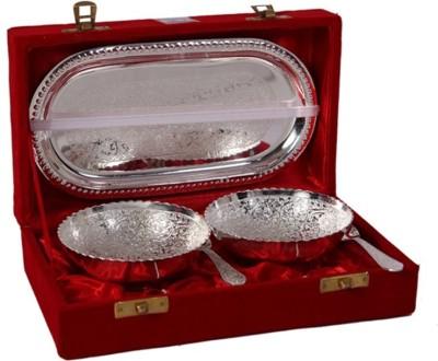 Divine Haat German Silver Capsule Set Bowl Spoon Tray Serving Set