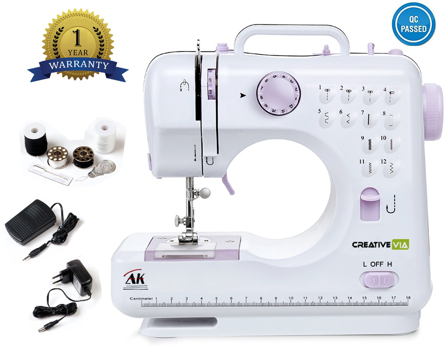 View Creative Via HA-SM02 10 built-in Stitch Pattens Portable & Compact With Accessories Electric Sewing Machine( Built-in Stitches 10) Home Appliances Price Online(Creative Via)