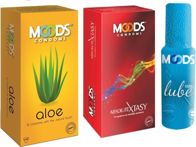 Moods Aloe & Absolute Xtasy Combo 1 with Lube(Pack of 3)