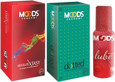 Moods Absolute Xtasy & Dotted Combo with Lube(Pack of 3)