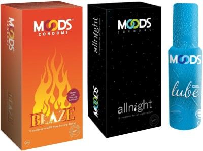 Moods Blaze & Allnight with Lube(Pack of 3)