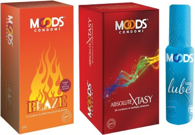 Moods Blaze & Absolute Xtasy Combo 2 with Lube(Pack of 3)