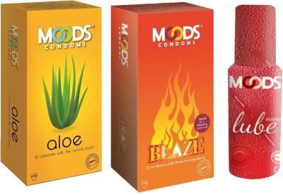 Moods Aloe & Blaze Combo with Lube(Pack of 3)