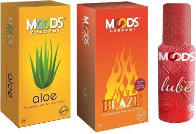 Moods Aloe & Blaze Combo with Lube(Pack of 3)