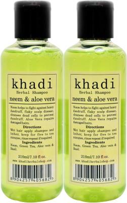 KHADI HERBALS Neem & Aloe Vera Shampoo[ PACK OF 2]