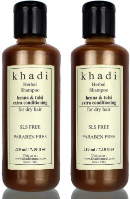 Khadi Herbal Henna and Tulsi Extra Conditioning SLS and Parabens Free Shampoo (Twin Pack)