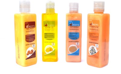 Abeers Khadi Vitivera,Citrus,Walnut And Ginger Lime Shampoo (Pack Of 4) 200 Ml Each