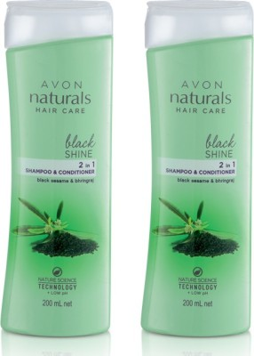 Avon Black Shine 2 in 1 Shampoo & Conditioner (pack of 2 of 200 ml each)