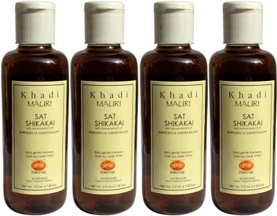Khadi Mauri Shikakai Sat Shampoo with Bhringraj Extracts Pack of 4 Herbal Ayurvedic Natural 210 ml each(840 ml) at flipkart