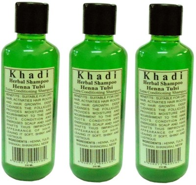 Khadi Herbal Henna Tulsi Shampoo pack of 3