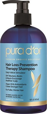 PURA D,OR Hair Loss Prevention Therapy Premium Organic Argan Oil Shampoo, 16 Fluid Ounce