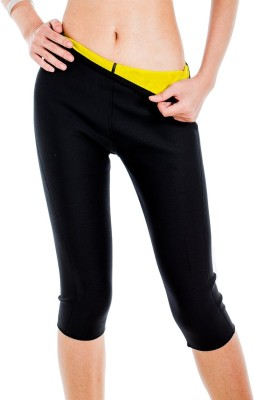 Wonder World ™ Heat Maximizing Thermo Body Slimming Compression Women's Black Capri at flipkart