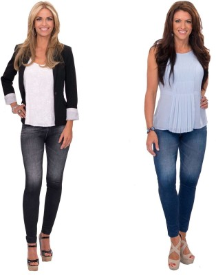 Wonder World Slim Women's Blue, Black Jeans(Pack of 2) at flipkart