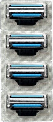 Ameego 4 Blade Shaving Cartridges Compatible with Gillette Mach 3 handles (Pack of 4)