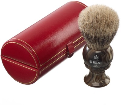 Kent H8 Horn Effect Premium 100% Pure Silver Tip Badger Hair - Large Head Shaving Brush