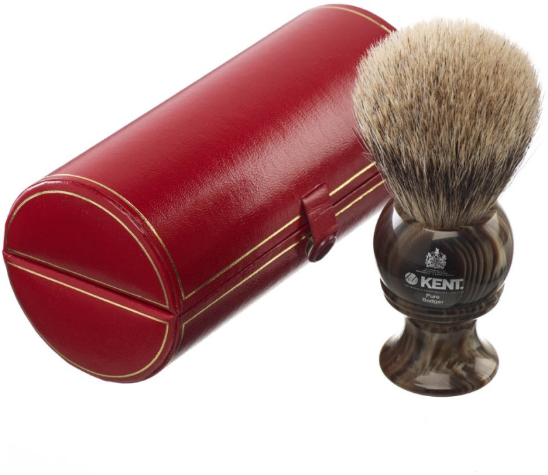 Kent H8 Horn Effect Premium 100% Pure Silver Tip Badger Hair - Large Head Shaving Brush