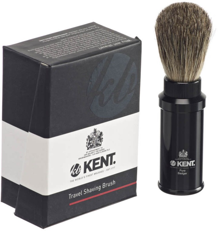 Kent TR2 Premium Real Badger Hair Travel Shaving Brush in Black Anodized Aluminium Case