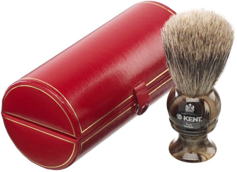 Kent H4 Horn Effect Premium 100% Pure Silver Tip Badger Hair - Medium Head Shaving Brush