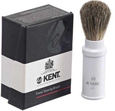 Kent TR3 Premium Real Badger Hair Travel Shaving Brush in White Anodized Aluminium Case