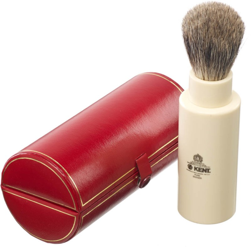 Kent TR Premium Real Badger Hair Travel Shaving Brush in Ivory White Resin Case