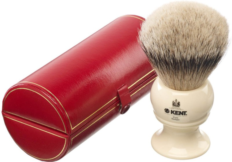 Kent BK12 Premium 100% Pure Silver Tip Badger Hair - King Size Head Shaving Brush