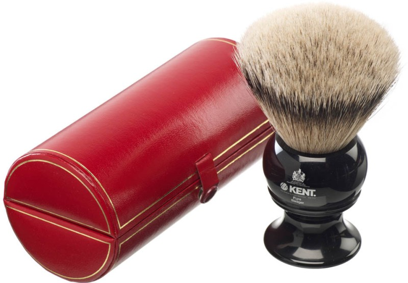 Kent BLK12 Premium 100% Pure Silver Tip Badger Hair - King Size Head Shaving Brush