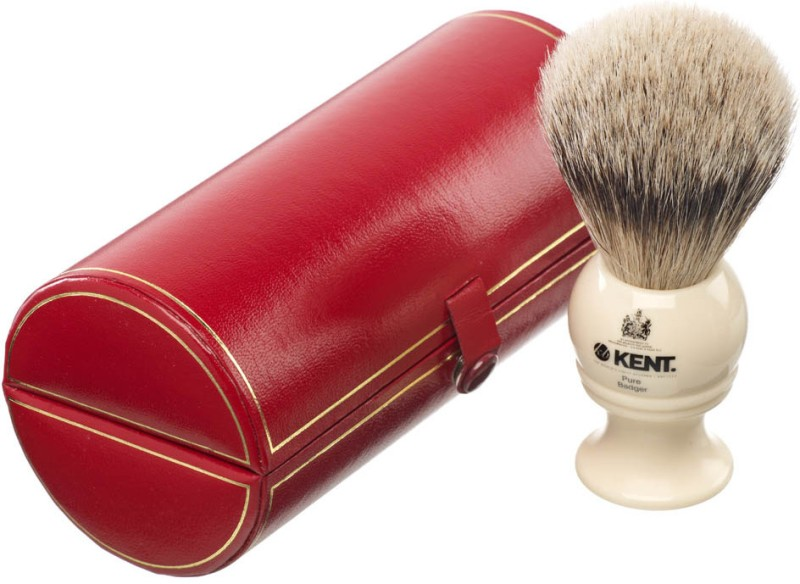 Kent BK2 Premium 100% Pure Grey Badger Hair - Medium Head Shaving Brush