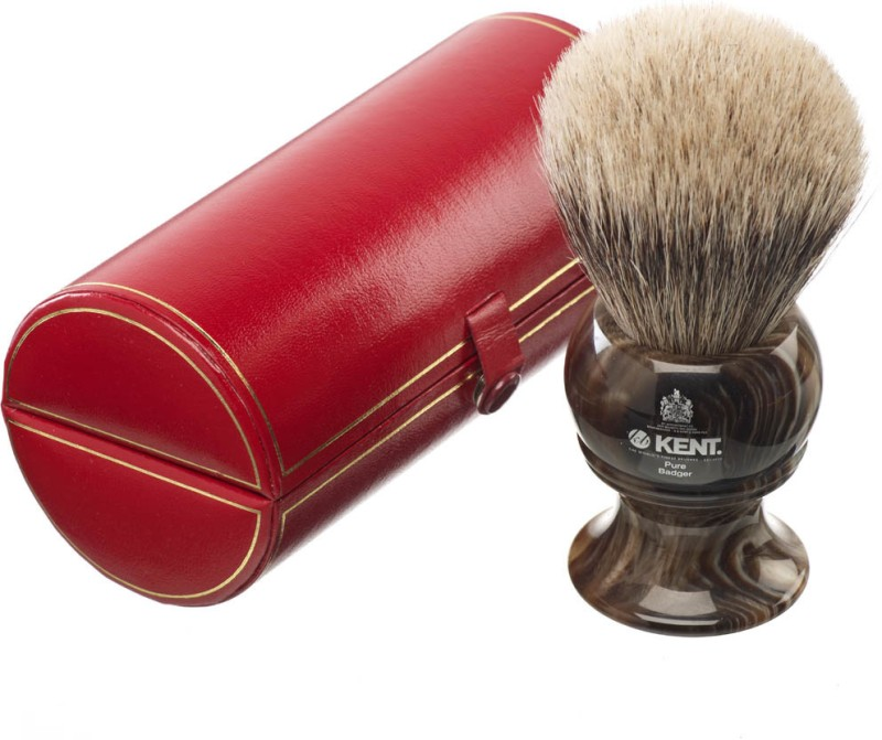 Kent H12 Horn Effect Premium 100% Pure Silver Tip Badger Hair - King Size Head Shaving Brush