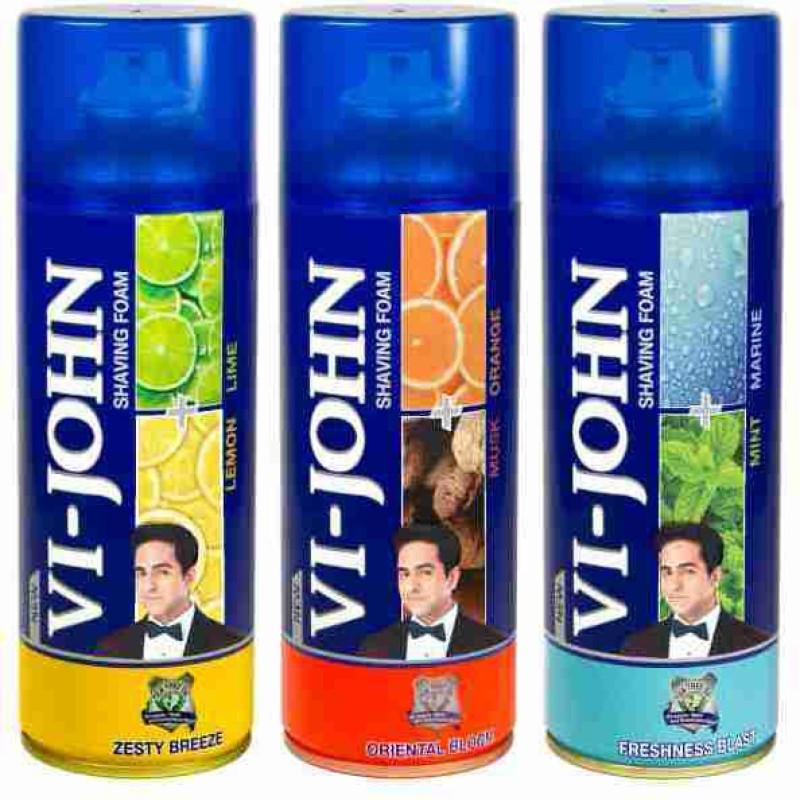 Vi-John Shave Foam Lemon Lime, Mint Marine & Musk Orange(1200 g)