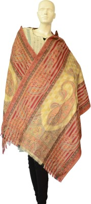 Jupi Pashmina, Wool Floral Print, Paisley, Striped Women's Shawl