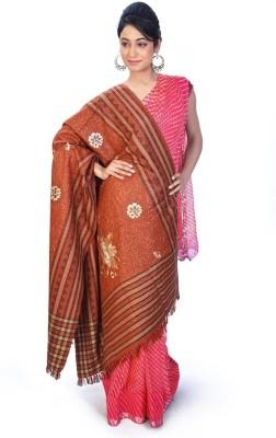 Home India Designer Stripes n Floral Pattern Kashmiri Shawl 206 Wool Self Design Women,s Shawl