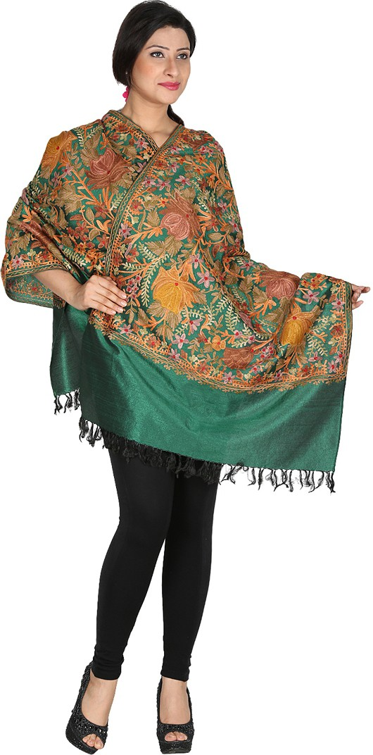 Inara Robes Premium Silk Embroidered Womens Shawl