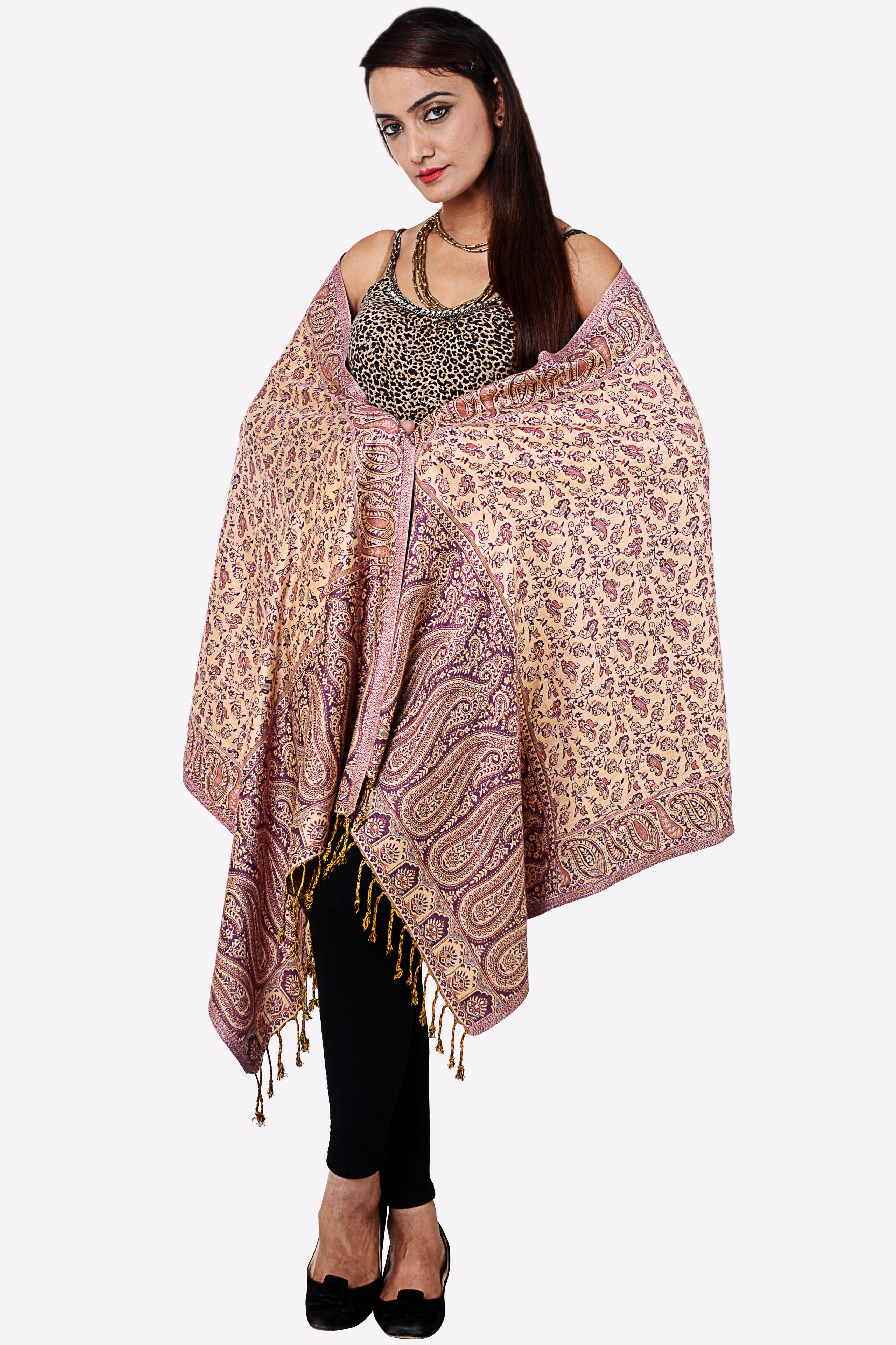 Inditouch Wool Self Design Womens Shawl