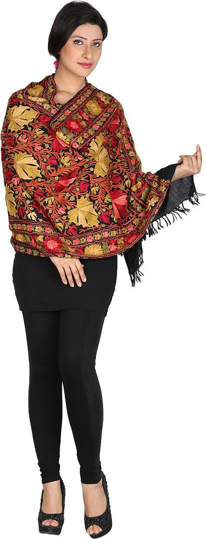 Inara Robes Premium Wool Embroidered Womens Shawl