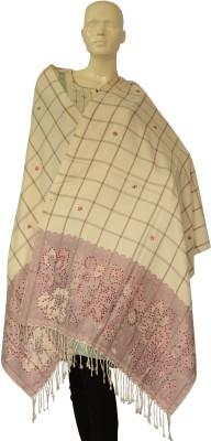 Jupi Pashmina, Wool Floral Print, Checkered Women's Shawl