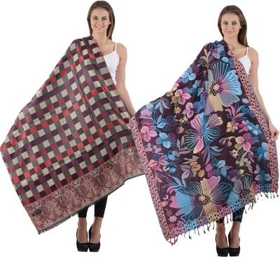 Christys Collection Poly Cotton Geometric Print Womens Shawl