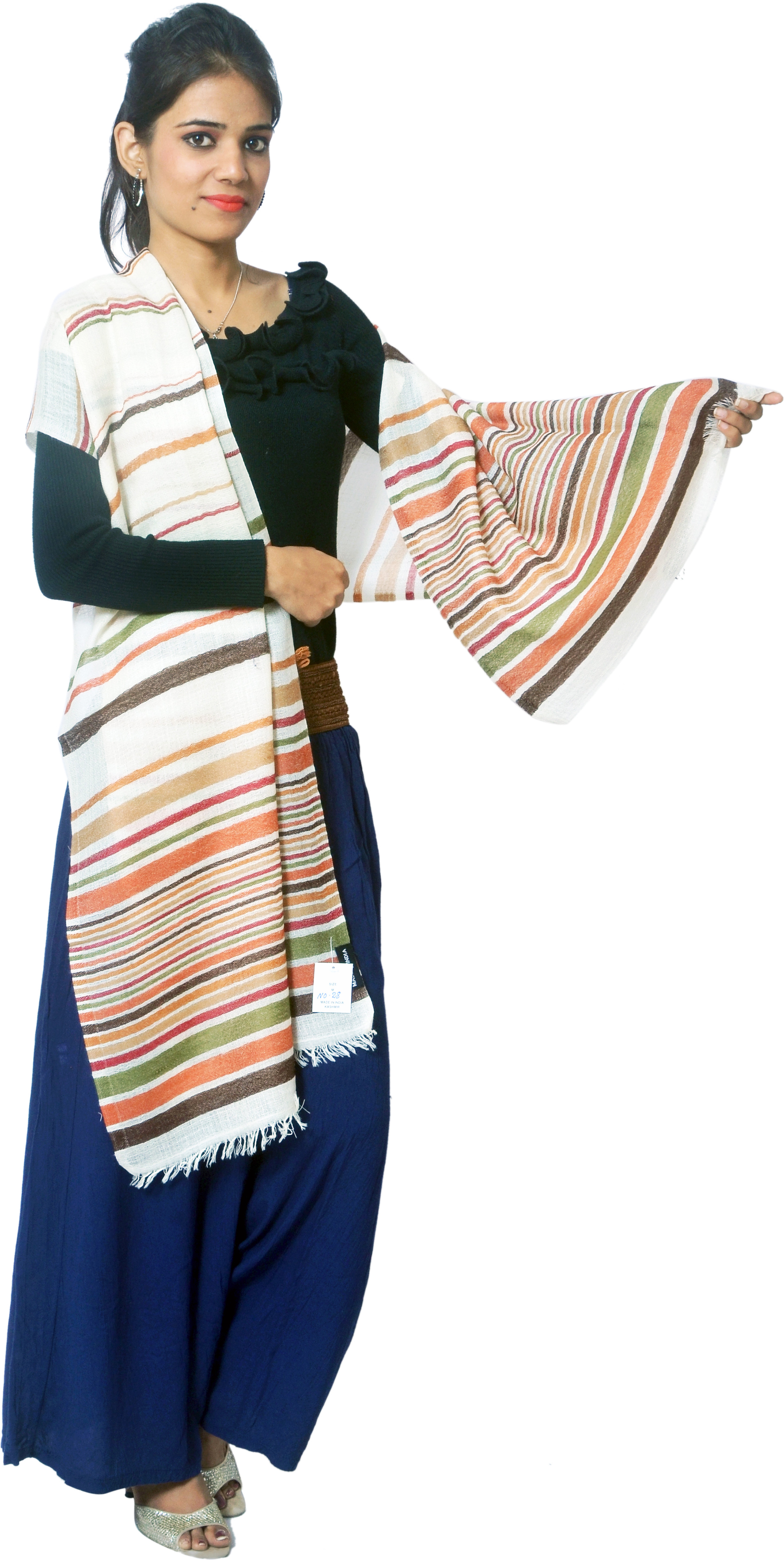Cloud9Emporio Sat00046 Wool Striped Womens Shawl