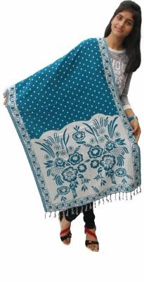 Unnati Wool Floral Print, Polka Print Women's Shawl