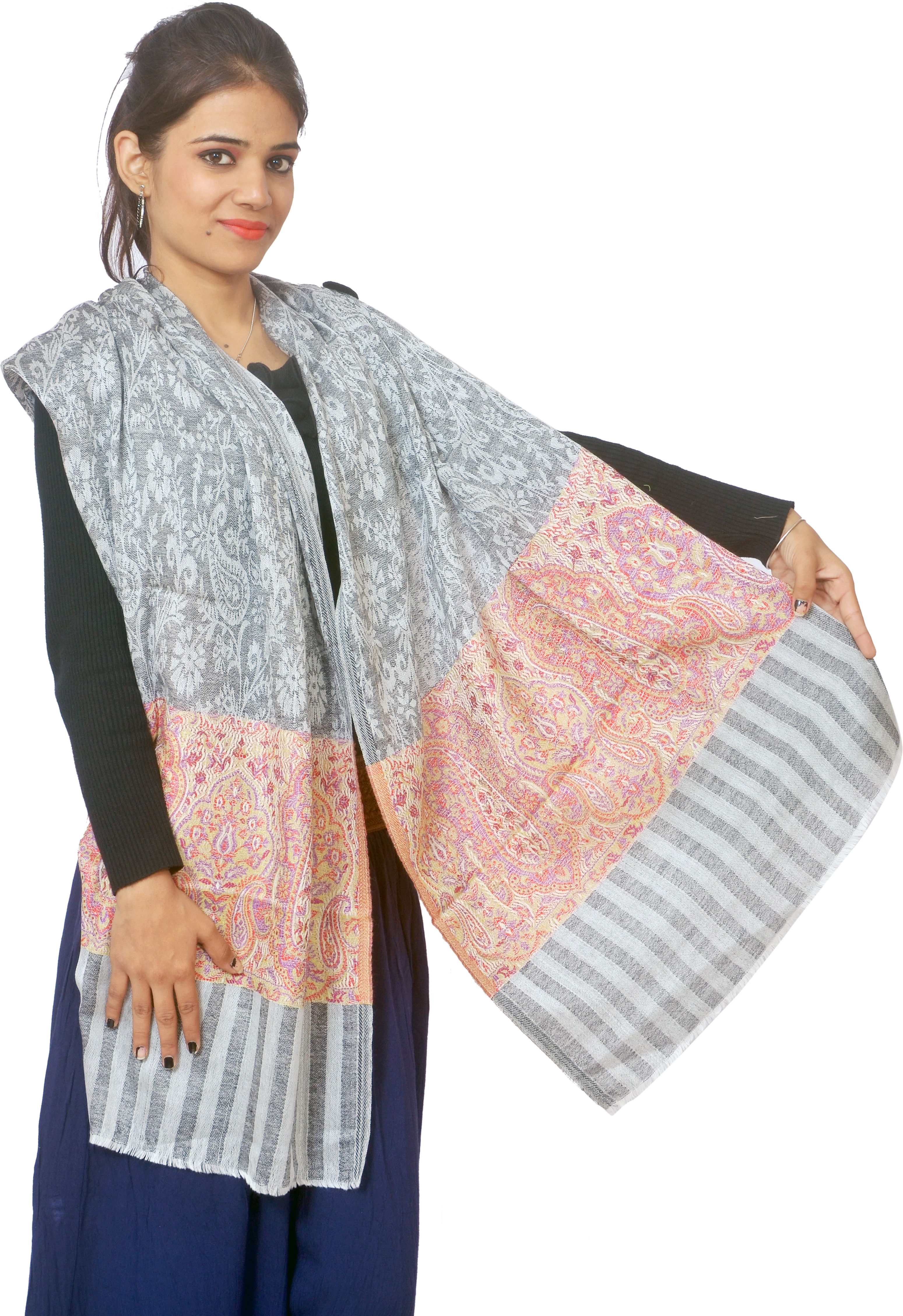 Cloud9Emporio Sat00045 Wool Striped Womens Shawl